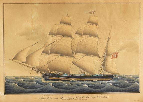"Jacob A. H. Böttger - Sloman-Bark ""Franklin von Hamburg. Captn. Johann L. Werlund"""