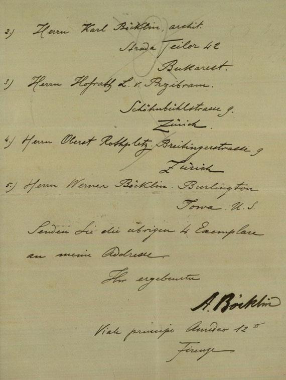 Arnold Böcklin - 1 Autograph. 1894.