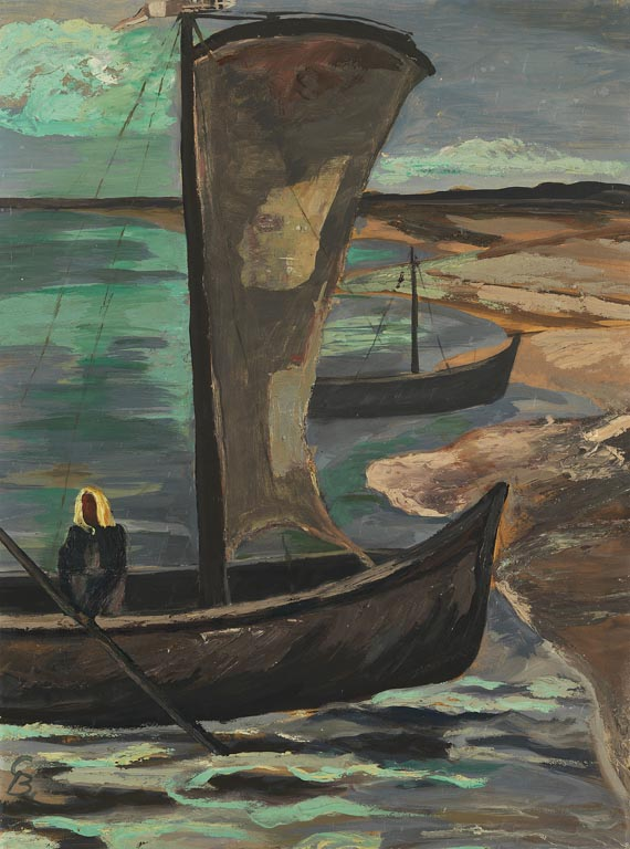 Gustav Burdensky - Boote am Haffufer