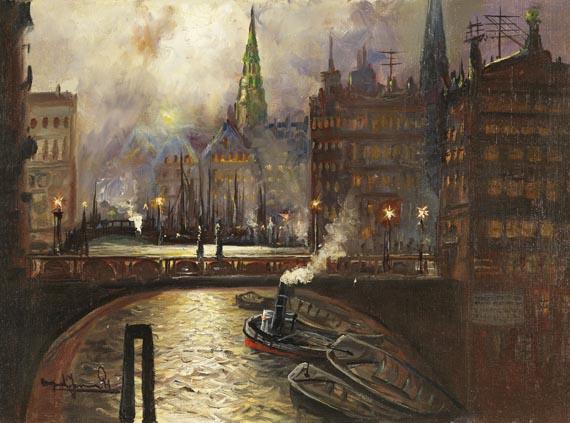 Alfred Serenius Jensen - Die Trostbrücke in Hamburg (Nachtbild)