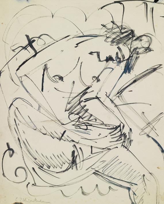 Ernst Ludwig Kirchner - Fußwaschender weiblicher Akt (Akt bei der Pediküre)