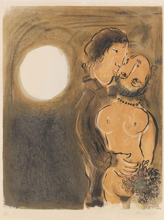 Marc Chagall - Pärchen in Ocker