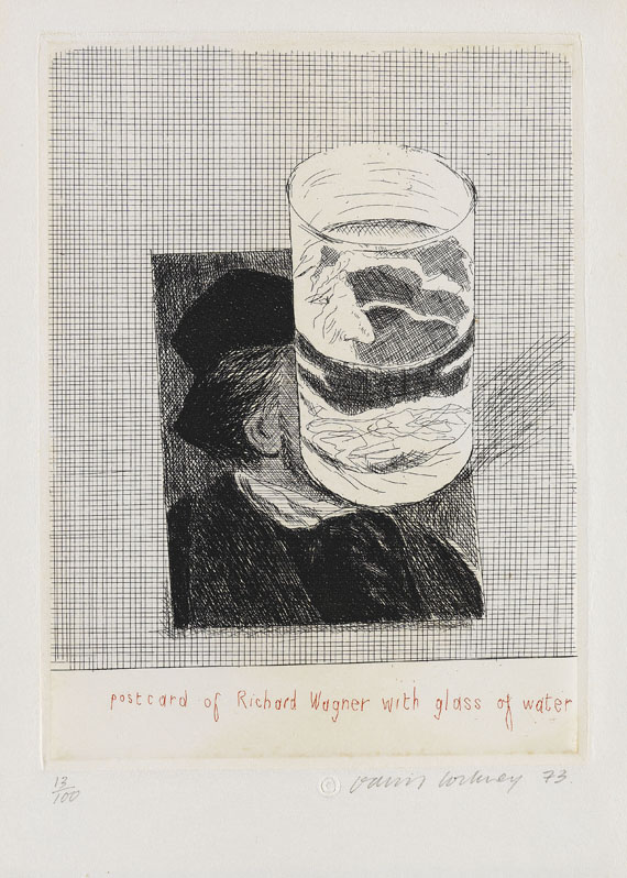 David Hockney - Postcard of Richard Wagner with a glass of water