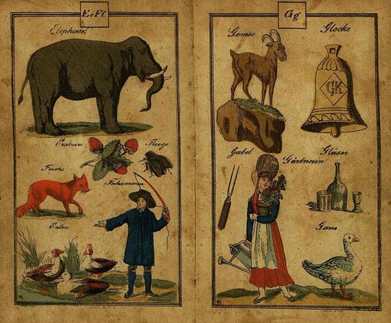 Die große bunte Bilder-Fibel. - Die große bunte Bilder-Fibel. Um 1810.