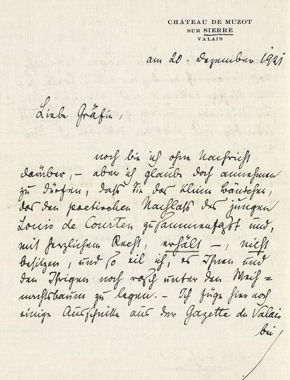 Rainer Maria Rilke - Eigh. Brief mit Umschlag und Karte. 3 Tle. 1918-21.