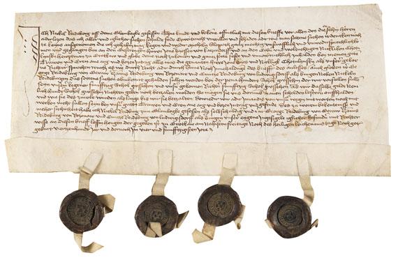Urkunden - Urkunde mit 4 Wachssiegeln. Grottkau, Polen. 1454.