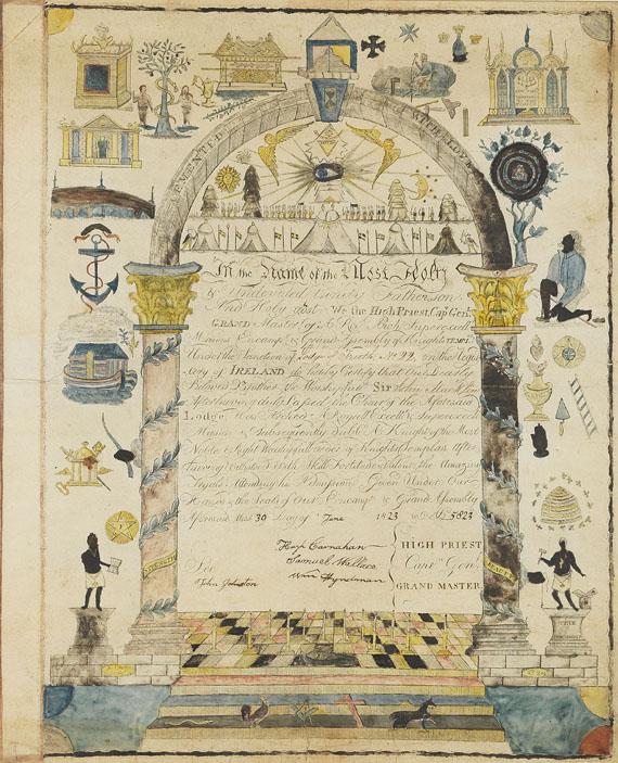 Freimaurer - 4 Freimaurer- Urkunden unter Glas + 1 gefalt. Urkunde. Zus. 5 Tle. 1802-1869.