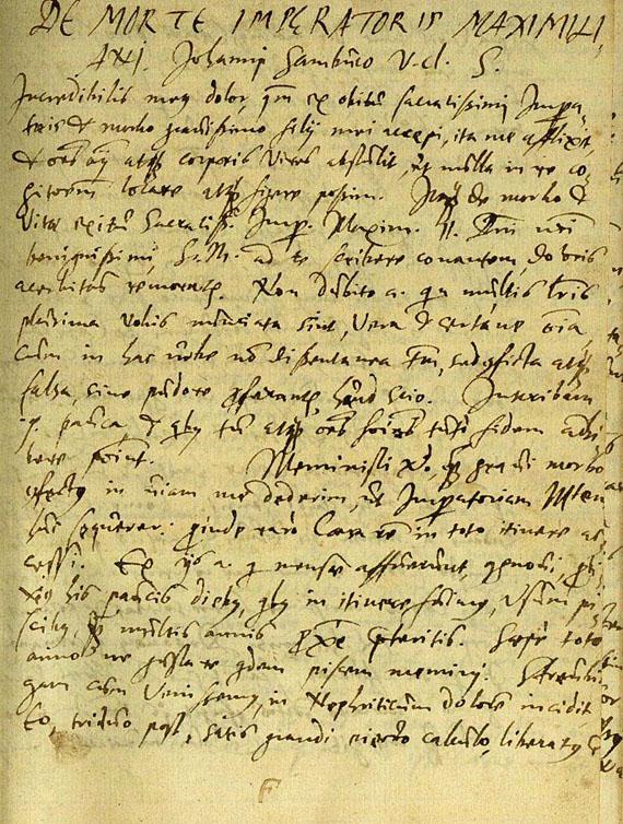 Crato von Krafftheim, J. - Manuskript: De Morte Imperator Maximiliani. Ende 16. Jh.