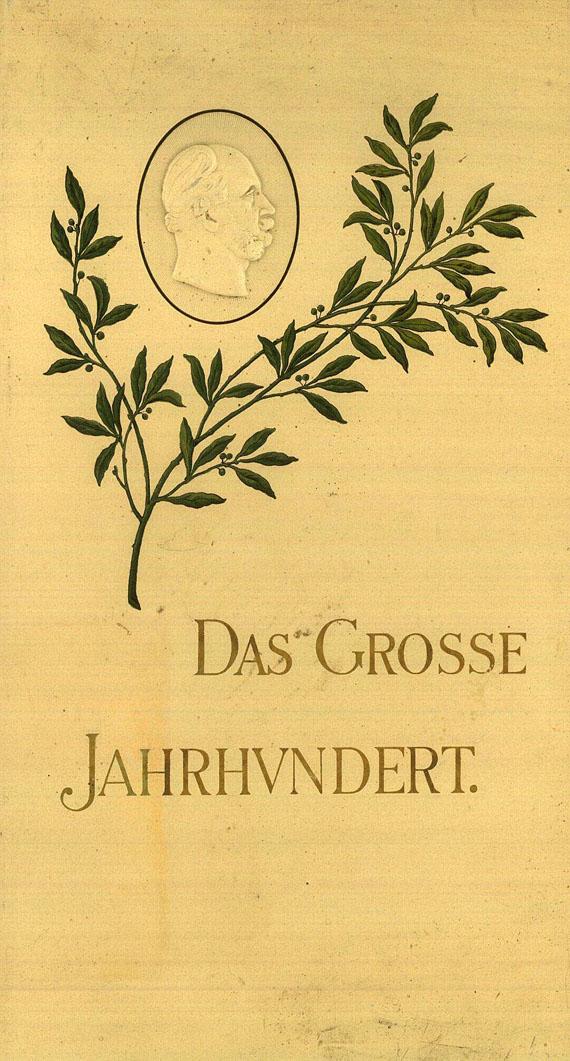 Postkarten - Das grosse Jahrhundert (Postkarten-Einsteckalbum mit Portraits bekannter Personen). 1898.