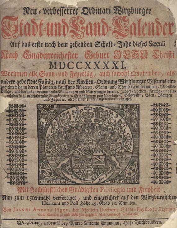 Joanne Andrea Jäger - Neu verbesserter Ordinari Wirzburger Stadt-und Land-Kalender. 1741.