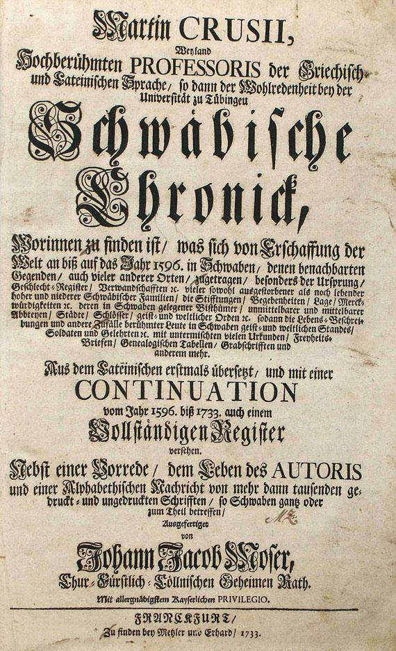 Martin Crusius - Schwäbische Chronik. 2 Bde. 1733.