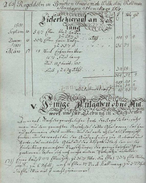 Manuskript Rechenbuch - Handschriftliches Rechenbuch. 1819.