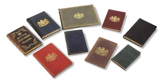 - Konvolut Königliche Bibliothek. 17. u. 18. Jh. 9 Bände. - Einband