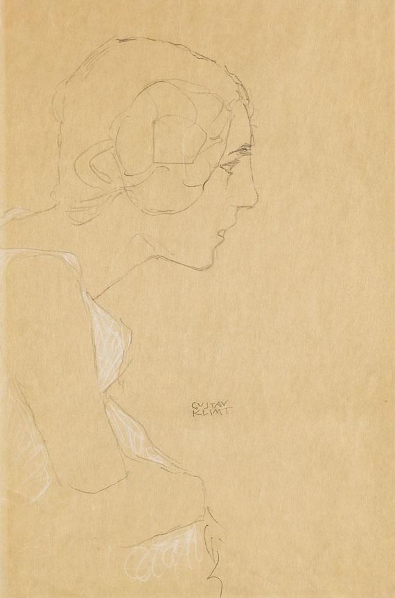 Gustav Klimt - Brustbild eines Mädchens im Profil nach rechts - Kniestück im Profil nach rechts