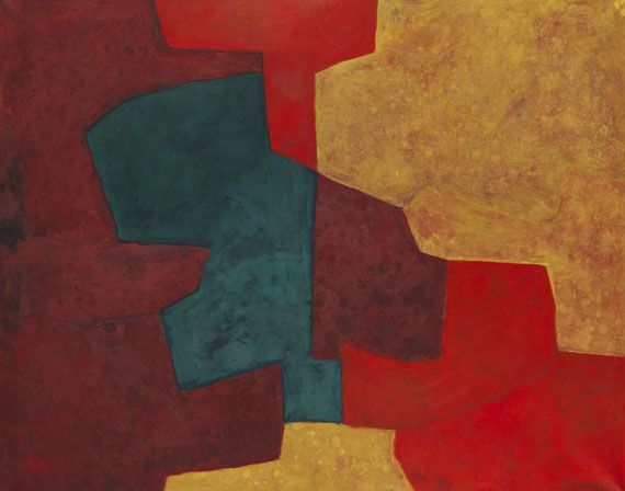 Serge Poliakoff - Composition abstraite orange, jaune, vert, lie de vin