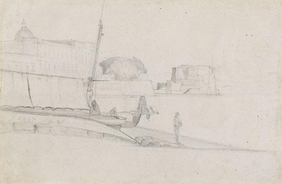 Jean-Baptiste Camille Corot - Zugeschrieben - Südländischer Hafen mit Fischern und Booten (La Rochelle?)