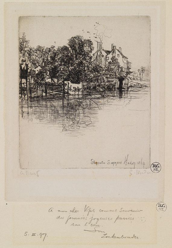 Francis Seymour Haden - 3 Blätter: Shepperton. The Turkish Bath, with one figure. Nine Barrow Down - Weitere Abbildung