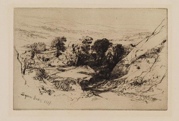 Francis Seymour Haden - 3 Blätter: Shepperton. The Turkish Bath, with one figure. Nine Barrow Down