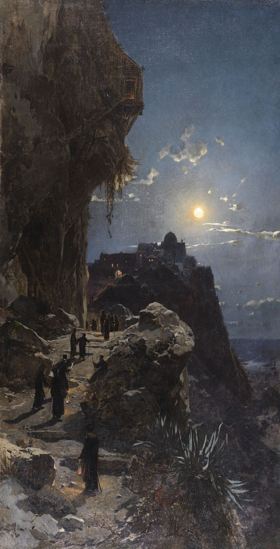 Hermann Corrodi - Nächtlicher Aufstieg am Berge Athos