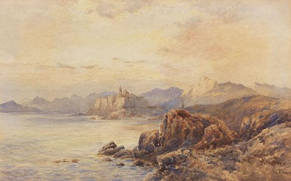 Edward Theodore Compton - Blick auf die Zitadelle von Calvi auf Corsika