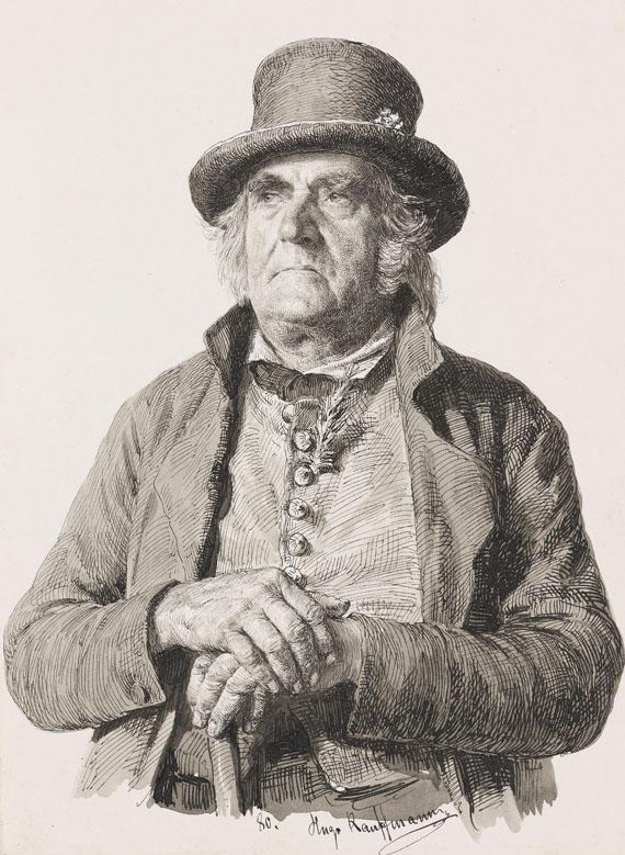 Hugo Kauffmann - Porträt eines Herrn mit Stock und Zylinder