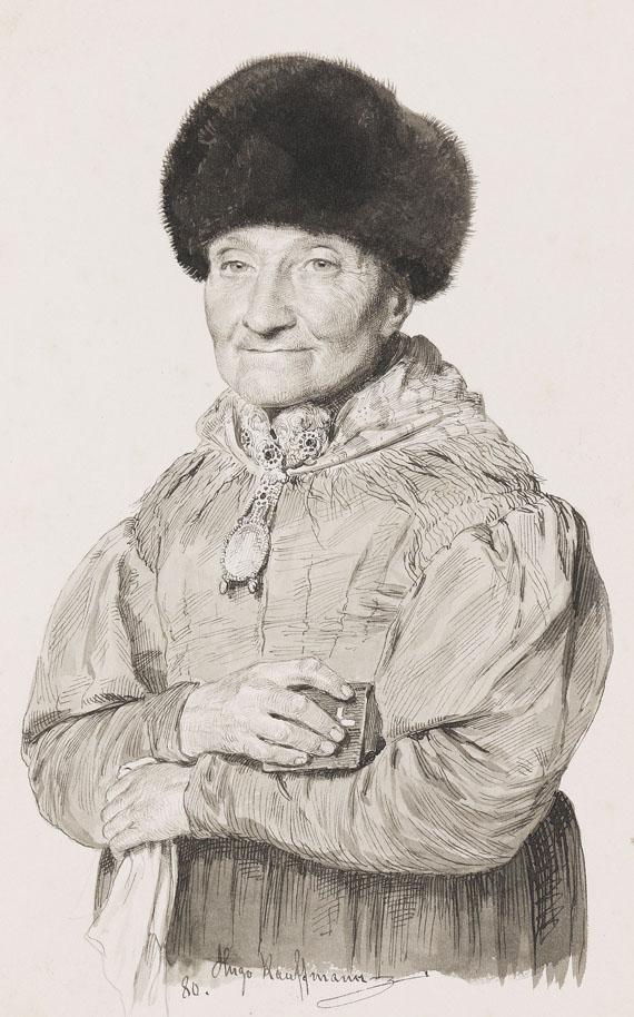 Hugo Kauffmann - Porträt einer alten Dame in Tracht und mit Pelzmütze