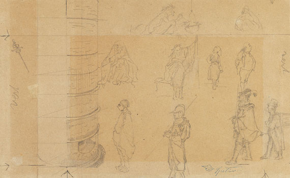 Carl Spitzweg - Studienblatt mit 10 charakteristischen Typen als Entwürfe zu Gemälden
