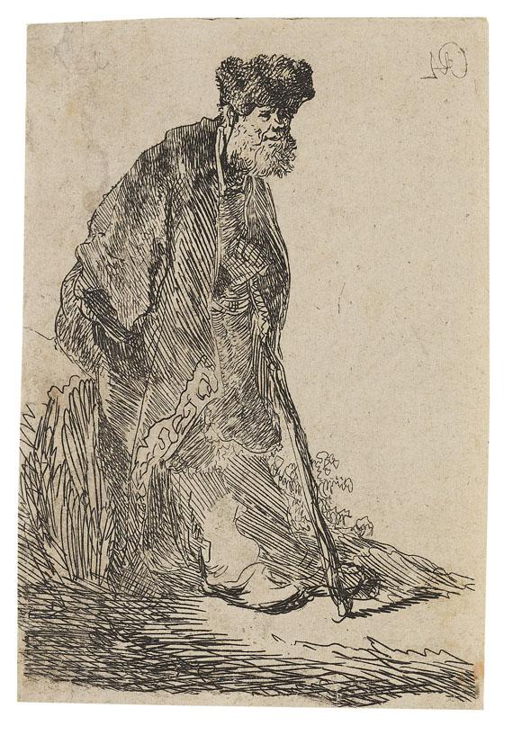 Harmensz. Rembrandt van Rijn - Bärtiger Mann im Mantel und mit Pelzmütze gegen einen Erdhügel gelehnt