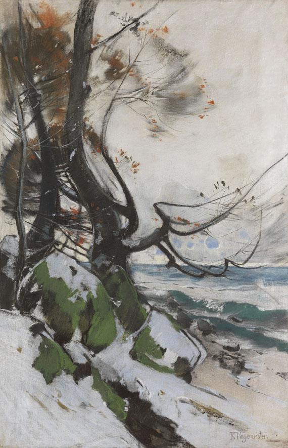 Karl Hagemeister - Am Strand von Lohme im Winter - Buchen am Ufer