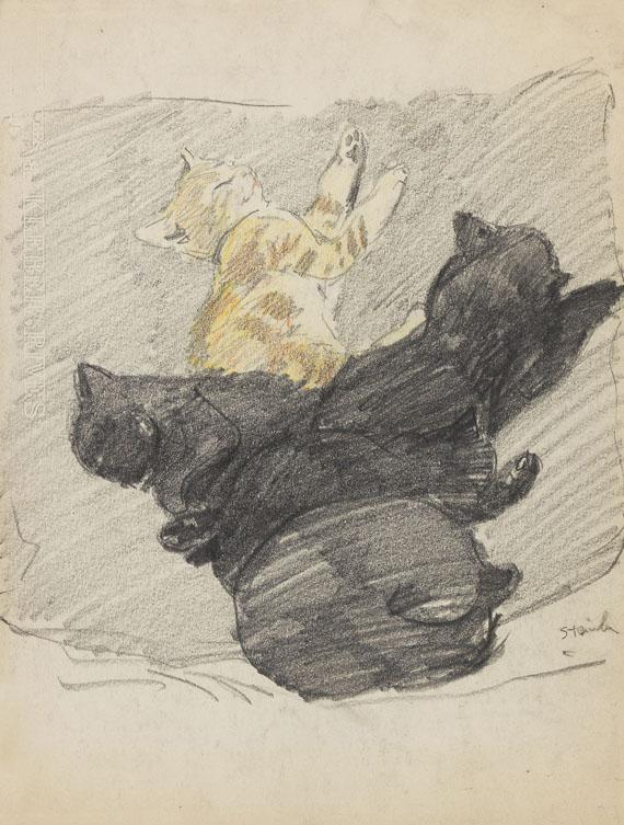 Théophile Alexandre Steinlen - Cinq Chats endormis