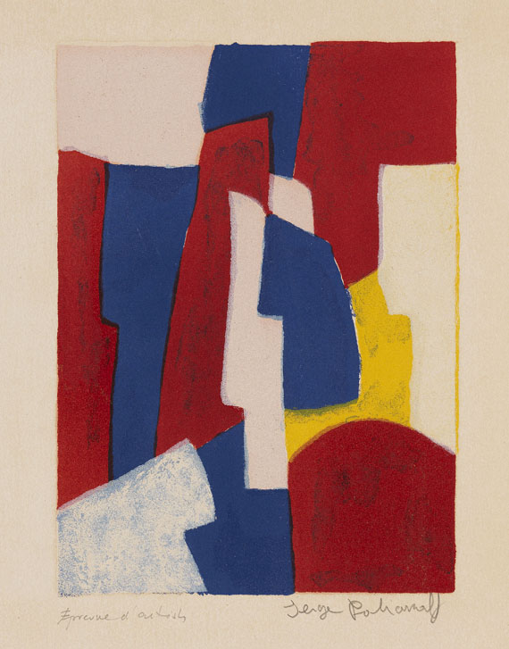 Serge Poliakoff - Composition bleue, rouge et rose