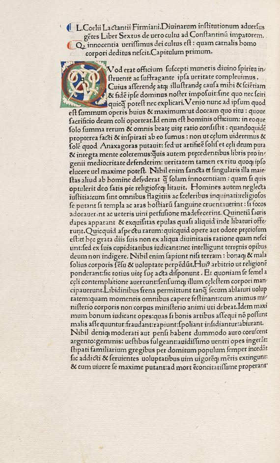 Lucius Coelius Firmianus Lactantius - Opera. 1472.