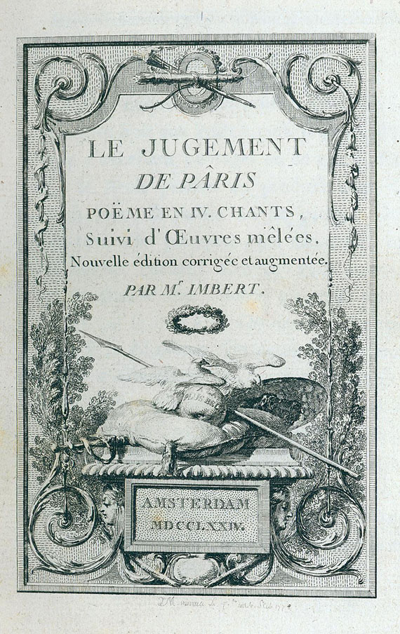 Bartholomäus Imbert - Le judgement de Pâris. 1774