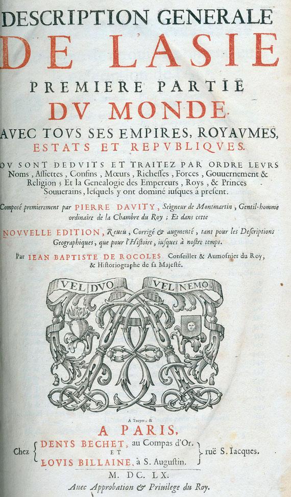 Pierre de Avity - Description générale de l'Asie. 1660.