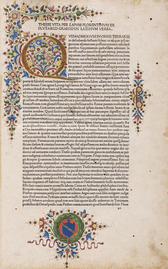 Plutarch - Vitae parallelae. Venedig 1478.