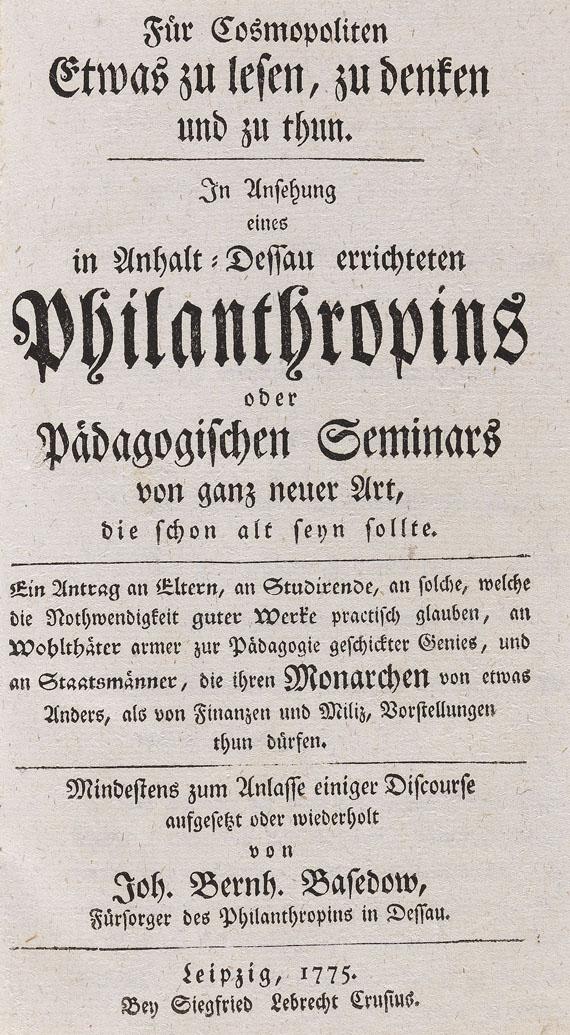 Johann Bernhard Basedow - Für Cosmopoliten. 1775