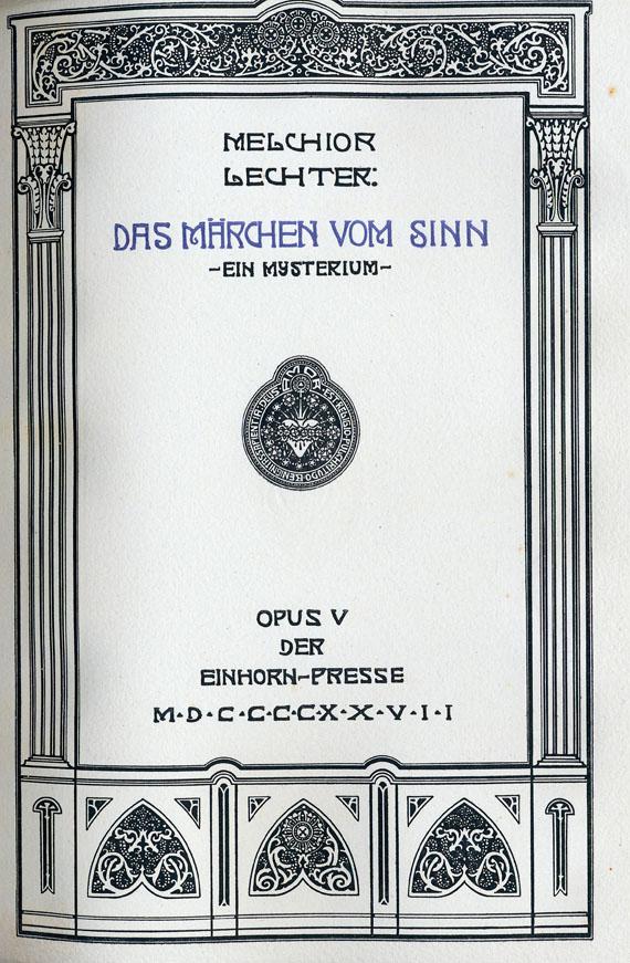 Melchior Lechter - Märchen vom Sinn. 1927.