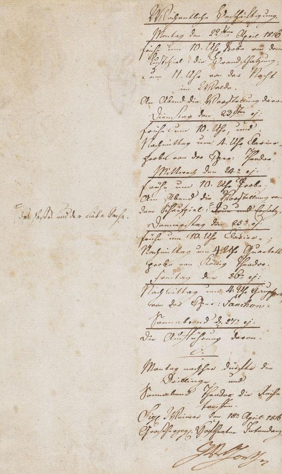 Johann Wolfgang von Goethe - 1 Autograph. 1816.