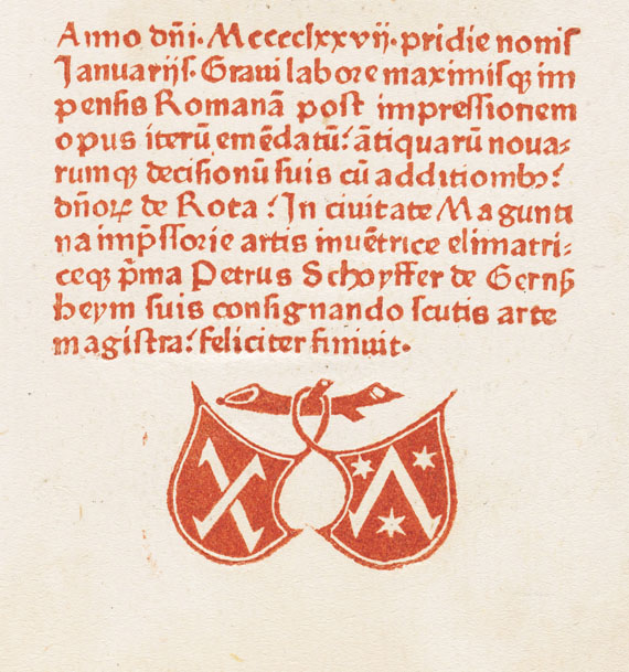 Peter Schöffer - Decisiones Rotae Romanae. 1477.