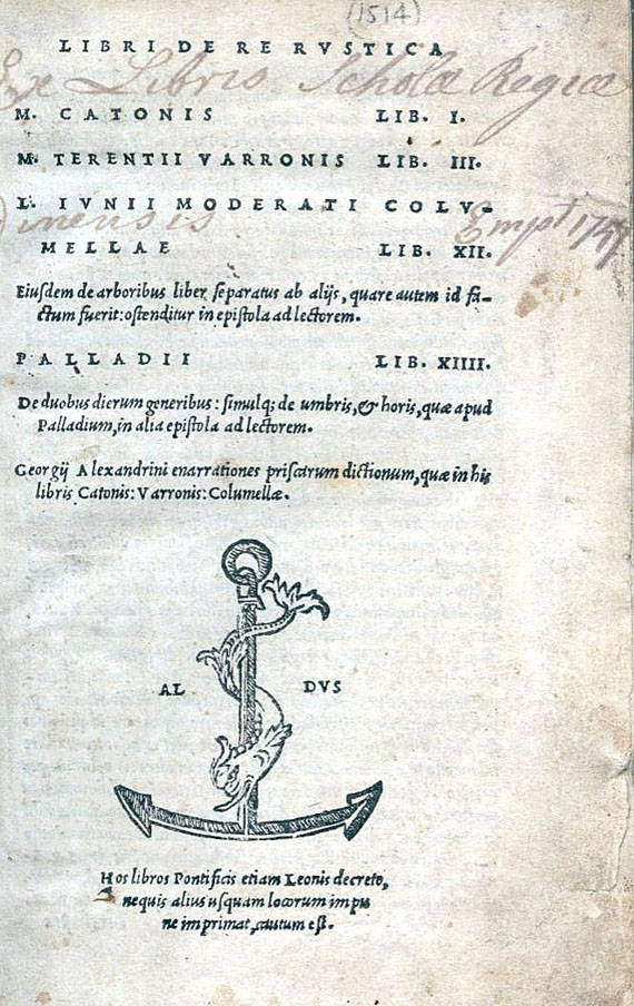 Aldus-Drucke - M. P. Cato, De re rustica. 1514