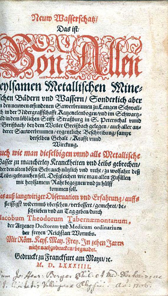 Jacobus Theodorus Tabernaemontanus - Neuw Wasserschatz. 1584