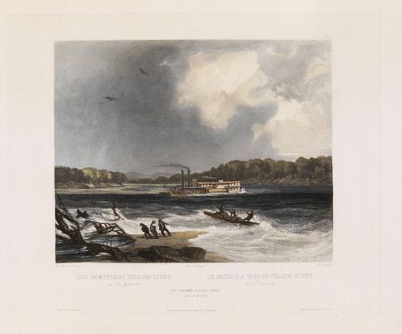 Prinz zu Wied-Neuwied Maximilian - Reise in das Innere Nord-America, 2 Textbde. und Atlas. Zus. 3 Bde. 1839-41.