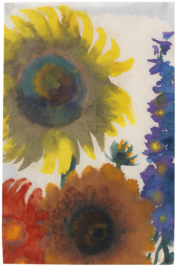 Emil Nolde - Sonnenblumen und Rittersporn