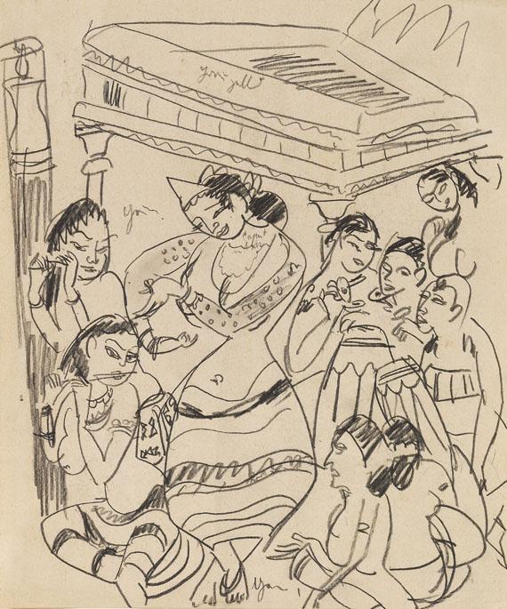 Ernst Ludwig Kirchner - Tanzende Königin Sivali und Musikerinnen