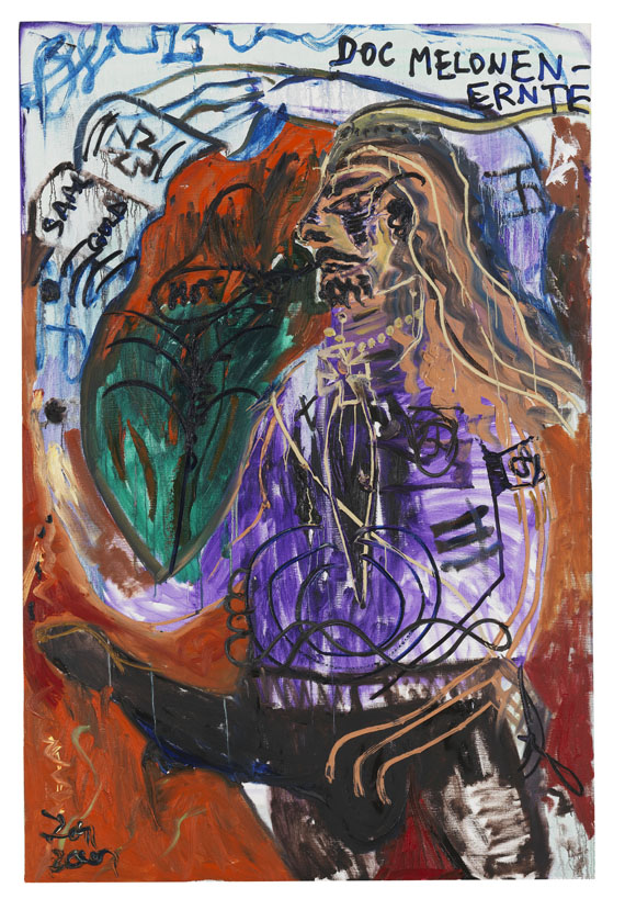Jonathan Meese - Don Knurrhahn (Selbstportrait) mit Stallpimmel