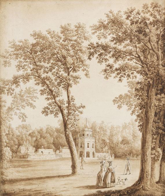 "Jacob Philipp Hackert - Die Miniaturburg ""Castelluccia"" im Park des Königspalastes Caserta"