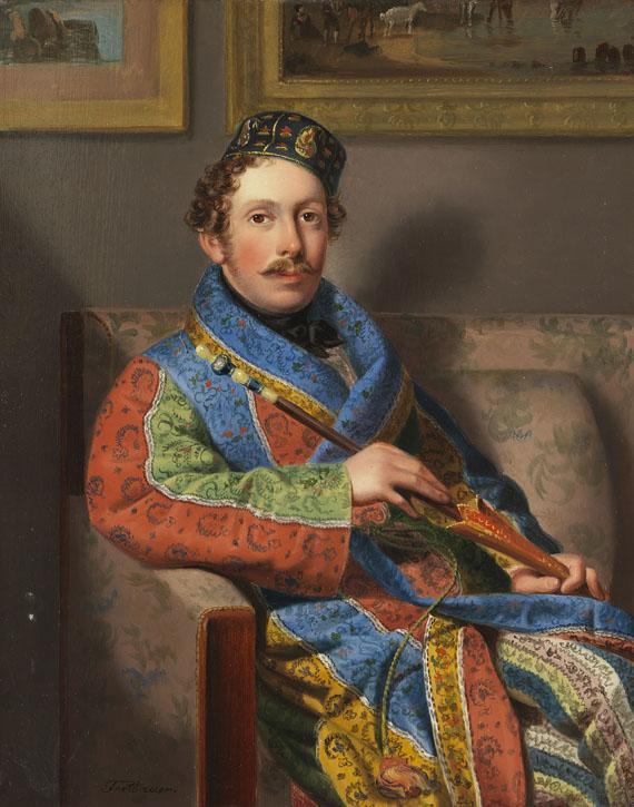 Leopold Fertbauer - Junger Herr im Rauchermantel