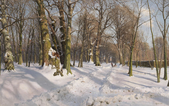 Mönsted - Verschneiter Waldweg bei Sonnenlicht