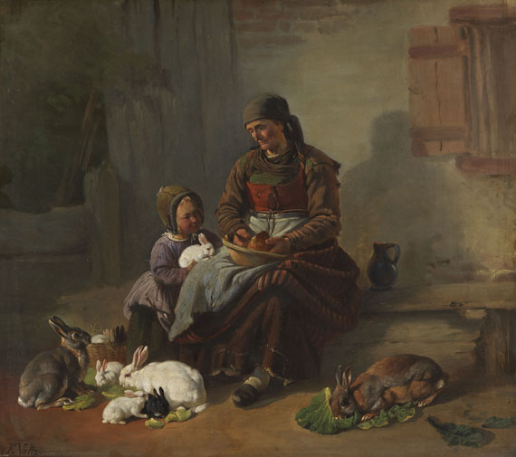 Friedrich Voltz - Die Hasenfütterung