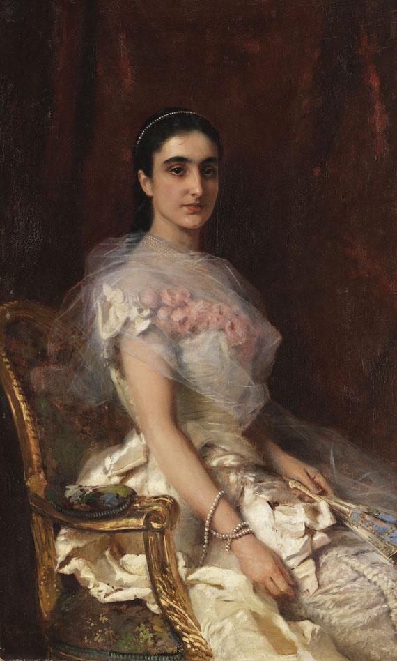 Konstantin Egorovic Makovskij - Porträt einer eleganten Dame mit Fächer